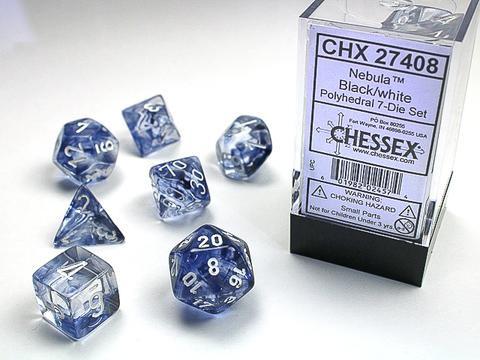 Chessex 7-er Mix Nebula: black / white