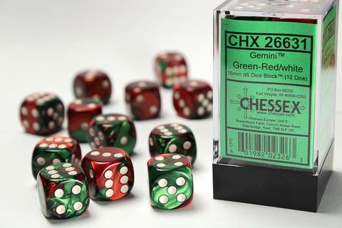 Chessex W6x12 Gemini: green-red / white
