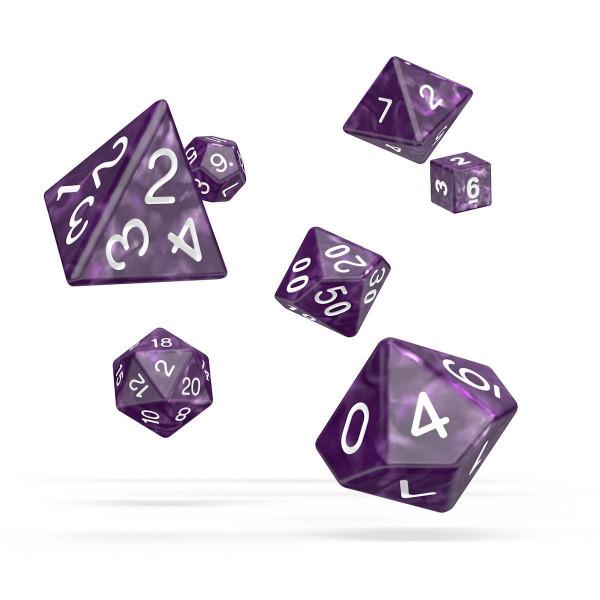 Oakie Doakie Dice RPG Set Marble - Purple (7)