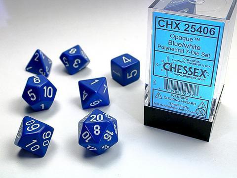 Chessex Würfel 7-er Mix Opaque: blue / white