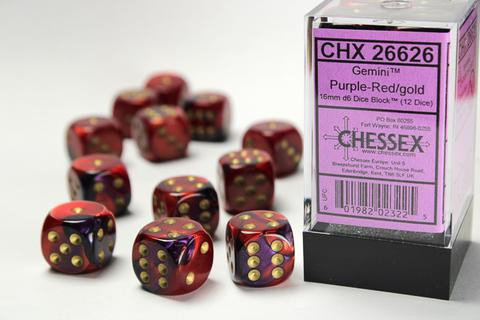 Chessex Würfel W6x12 Gemini: purple-red / gold