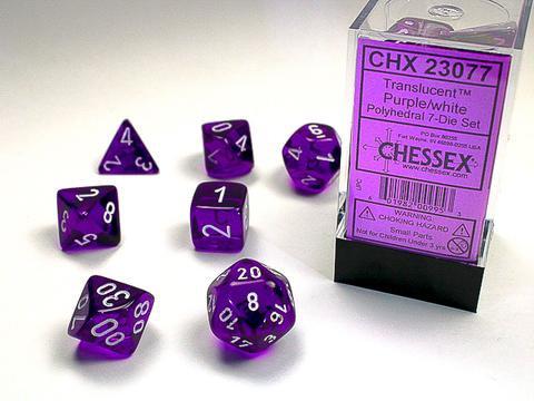 Chessex Würfel 7-er Mix Translucent: purple / white