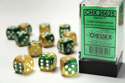 Chessex Würfel W6x12 Gemini: gold-green / white