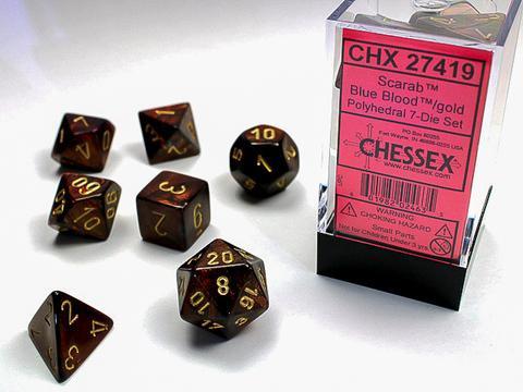 Chessex Würfel 7-er Mix Scarab: blueblood /gold