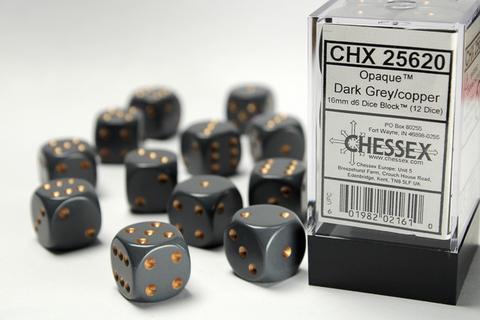 Chessex Würfel W6x12 Opaque: Grey / Copper