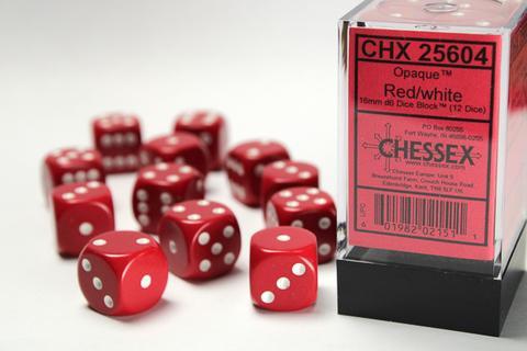 Chessex Würfel W6x12 Opaque: Red / White