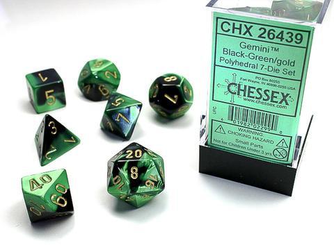 Chessex Würfel 7-er Mix Gemini: black-green / gold