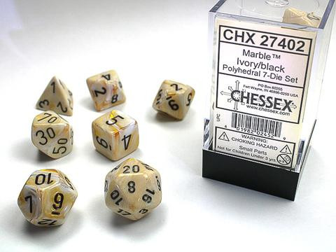 Chessex 7-er Mix Marble: ivory / black