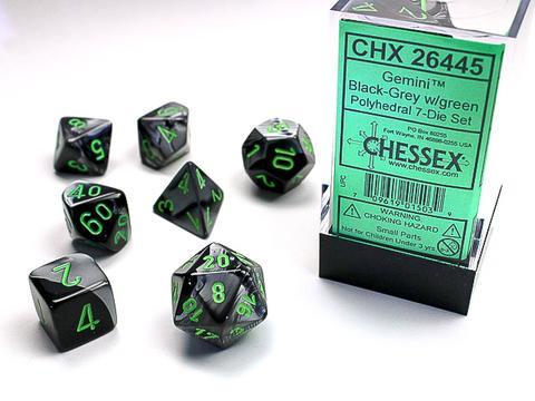 Chessex Würfel 7-er Mix Gemini: black-gey / green
