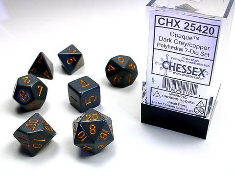 Chessex Würfel 7-er Mix Opaque: dark-grey / copper
