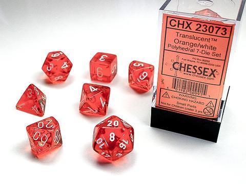 Chessex Würfel 7-er Mix Translucent: orange / white