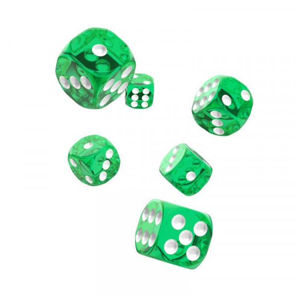 Oakie Doakie Dice D6 Dice 16 mm Translucent - Green (12)