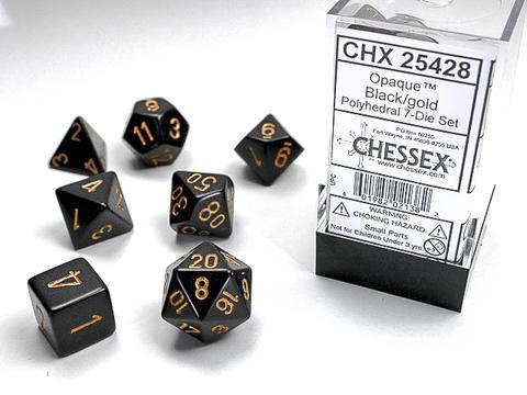Chessex Würfel 7-er Mix Opaque: black / gold