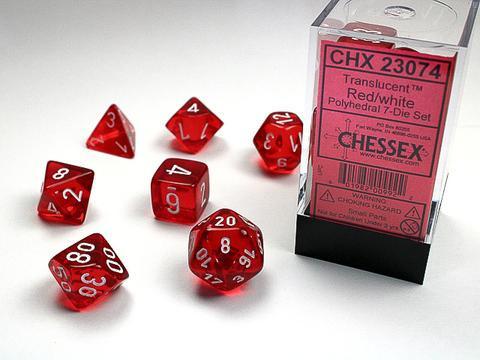 Chessex Würfel 7-er Mix Translucent: red / white