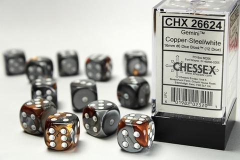 Chessex Würfel W6x12 Gemini: copper-steel / white