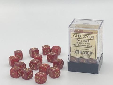 Chessex W6x36 Glitter: ruby / gold
