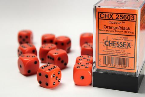 Chessex W6x12 Opaque: Orange / Black