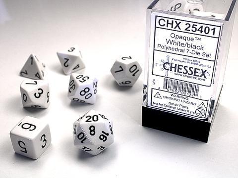 Chessex Würfel 7-er Mix Opaque: white / black