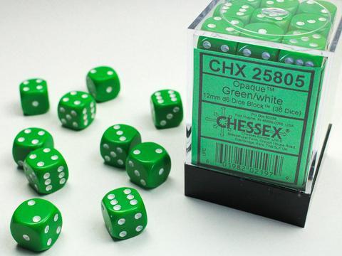 Chessex Würfel W6x36 Opaque: green / white