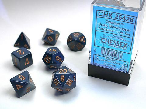 Chessex Würfel 7-er Mix Opaque: dusty-blue / copper